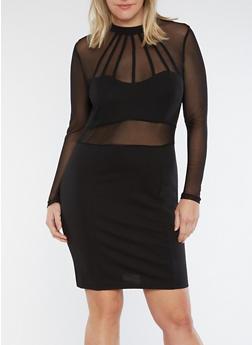 Plus Size Mesh Detail Bodycon Dress - 1930069393007