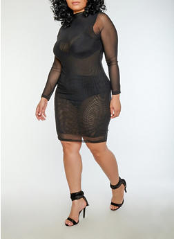 Plus Size Sheer Mesh Midi Dress - 1930069393013
