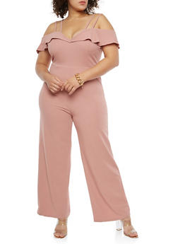 Plus Size Crepe Knit Off the Shoulder Jumpsuit - 1930069393014