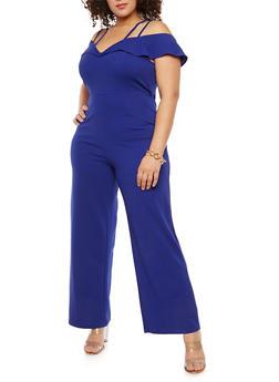 Plus Size Crepe Knit Off the Shoulder Jumpsuit - 1930069393014