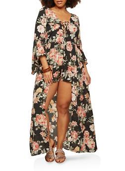 Plus Size Floral Lace Up Maxi Romper - 1930069393017