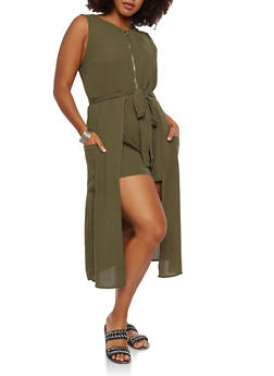 Plus Size Zip Front Romper with Maxi Skirt Overlay - 1930069393028