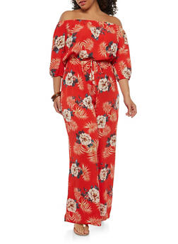 Plus Size Floral Off the Shoulder Jumpsuit - 1930069393145