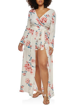 Plus Size Faux Wrap Romper with Maxi Skirt Overlay - 1930069393201