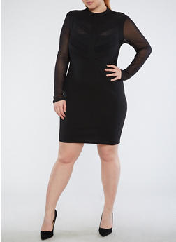 Plus Size Dress with Mesh Detail - 1930069393311