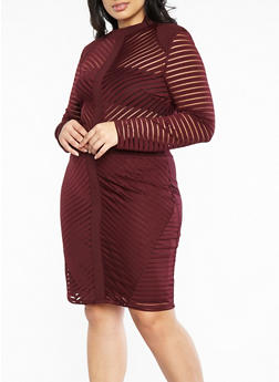 Plus Size Long Sleeve Shadow Stripe Bodycon Dress - 1930069393416