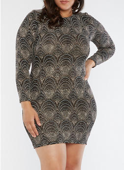 Plus Size Caged Open Back Glitter Knit Dress - 1930069393432