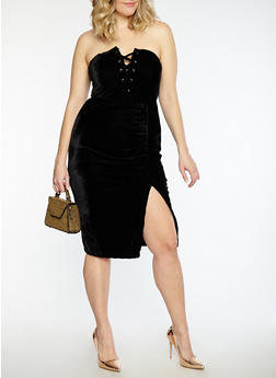 Plus Size Velvet Lace Up Tube Dress - 1930069393435