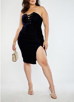 Plus Size Velvet Lace Up Tube Dress - 1930069393435