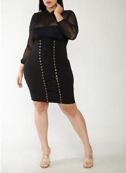 Plus Size Mesh Lace Up Bodycon Dress - 1930069393469