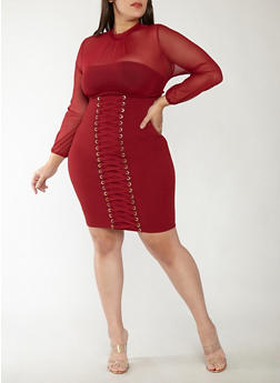 Plus Size Mesh Lace Up Bodycon Dress - 1930069393469