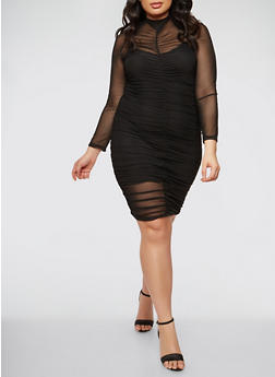 Plus Size Ruched Mesh Dress - BLACK - 1930069393473