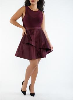 Plus Size Mesh Taffeta High Low Dress - 1930069393487