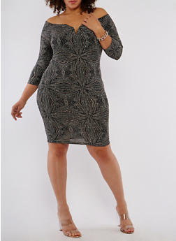 Plus Size Off the Shoulder Glitter Dress - 1930069393495