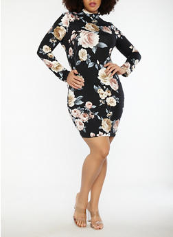 Plus Size Floral Soft Knit Caged Back Dress - 1930069393499