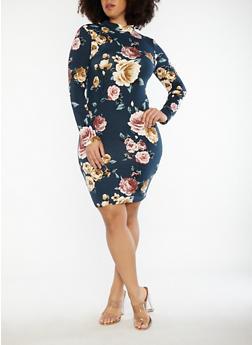 Plus Size Floral Soft Knit Caged Back Dress - 1930069393499