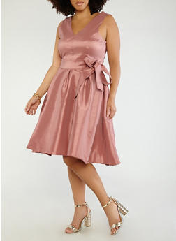 Plus Size Open Back Taffeta Dress - 1930069393506