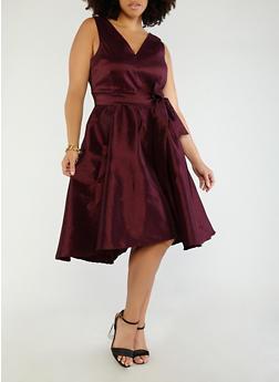 Plus Size Open Back Taffeta Dress - 1930069393506