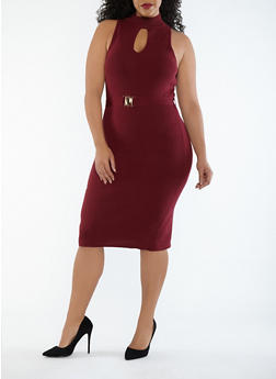 Plus Size Rib Knit Keyhole Belted Sweater Dress - 1930069393533