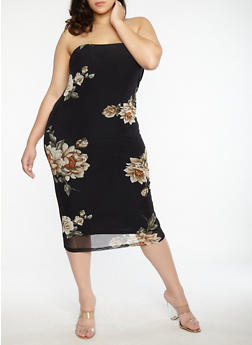 Plus Size Floral Mesh Tube Dress - 1930069393539