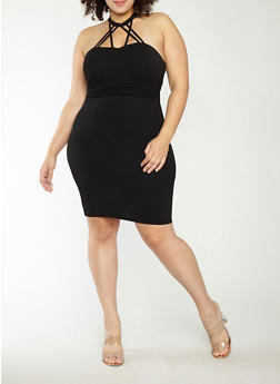 Plus Size Caged Neck Bodycon Dress - BLACK - 1930069393551