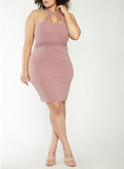 Plus Size Caged Neck Bodycon Dress - 1930069393551