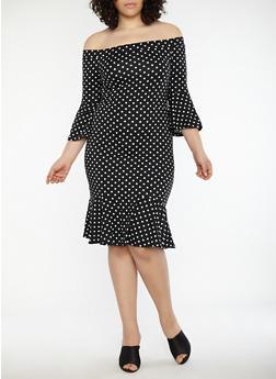 Plus Size Polka Dot Flounce Hem Dress - 1930069393558
