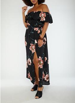 Plus Size Floral Off the Shoulder Maxi Dress - 1930069393559