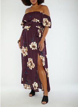 Plus Size Floral Off the Shoulder Maxi Dress - 1930069393559