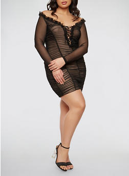 Plus Size Ruched Mesh Dress - BLACK TAUPE - 1930069393572