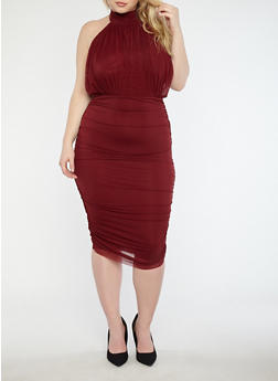 Plus Size Ruched Mesh Midi Dress - 1930069393583