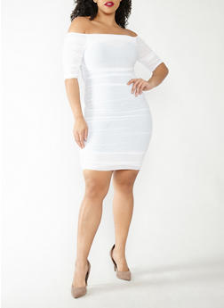 Plus Size Ruched Mesh Off the Shoulder Dress - WHITE - 1930069393584