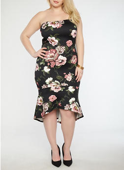 Plus Size Strapless Floral Flounce Hem Dress - 1930069393614