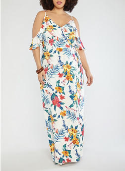 Plus Size Floral Maxi Wrap Dress - 1930069393630