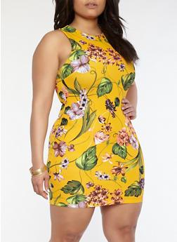 Plus Size Floral Crepe Knit Dress - 1930069393638