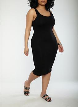 Plus Size Solid Tank Dress - BLACK - 1930069393691