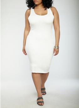 Plus Size Solid Tank Dress - WHITE - 1930069393691
