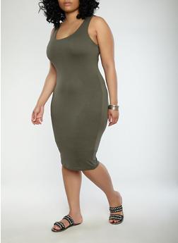 Plus Size Solid Tank Dress - OLIVE - 1930069393691