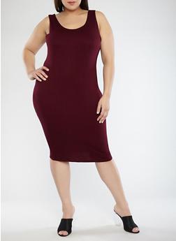 Plus Size Solid Tank Dress - BURGUNDY - 1930069393691