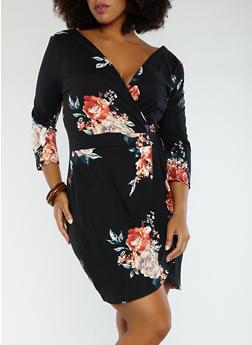 Plus Size Floral Faux Wrap Dress - 1930069393695