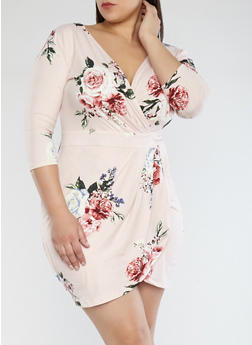 Plus Size Floral Faux Wrap Dress - 1930069393695