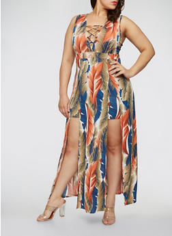 Plus Size Feather Print Caged Neck Maxi Dress - 1930069393696