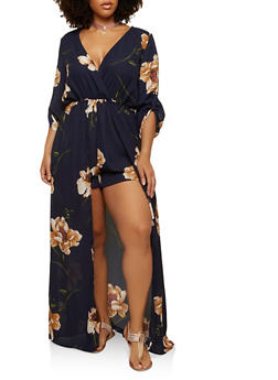 Plus Size Faux Wrap Romper with Maxi Skirt Overlay - 1930069396235