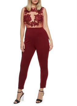 Plus Size Crochet Mesh Jumpsuit - 1930069396684