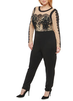 Plus Size Mesh Crochet Applique Jumpsuit - 1930069396815