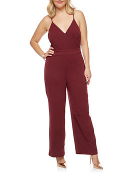 Plus Size Laced Open Back Jumpsuit - 1930069396826