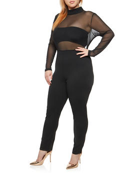 Plus Size Open Back Mesh Jumpsuit - 1930069396844