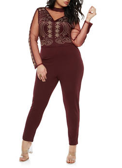 Plus Size Studded Mesh Trim Jumpsuit - 1930069396882