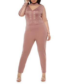 Plus Size Studded Mesh Trim Jumpsuit - 1930069396882