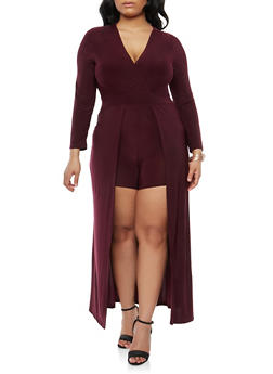 Plus Size Romper with Maxi Skirt Overlay - 1930069396888